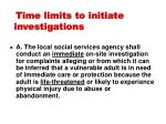 time limits to initiate investigations