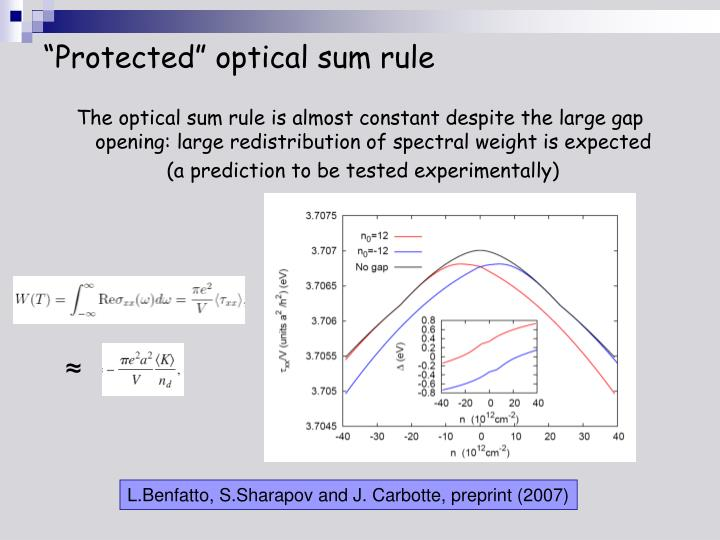 """""""Protected"""" optical sum rule"""