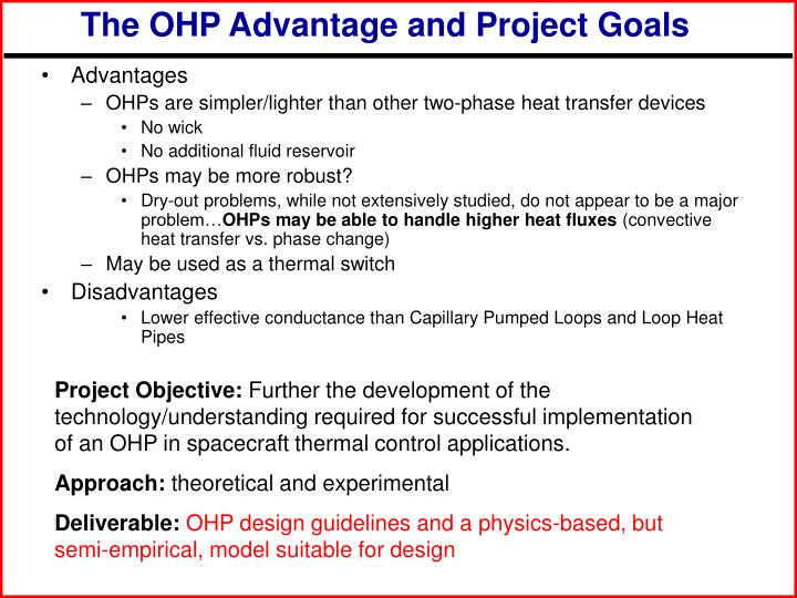 The OHP Advantage and Project Goals