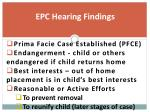 epc hearing findings