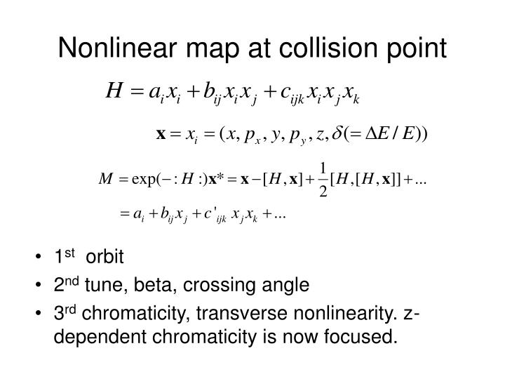 Nonlinear map at collision point