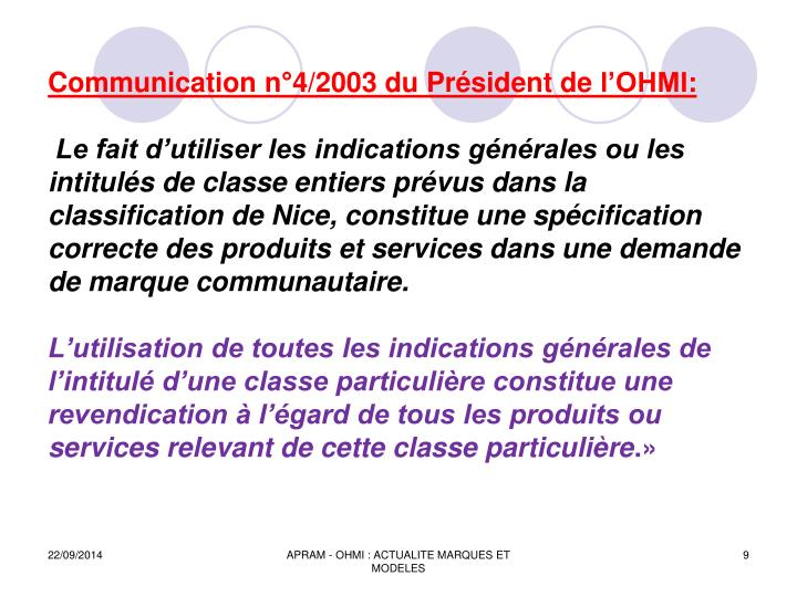 Communication n°4/2003 du