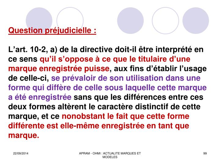 Question préjudicielle :