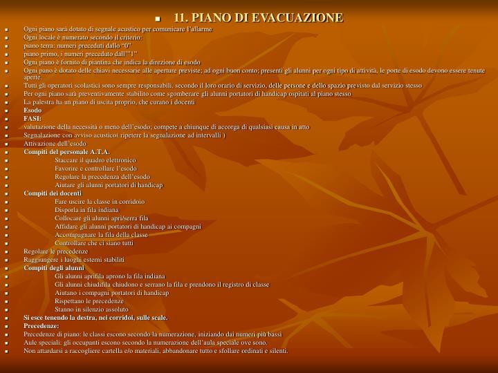 11. PIANO DI EVACUAZIONE