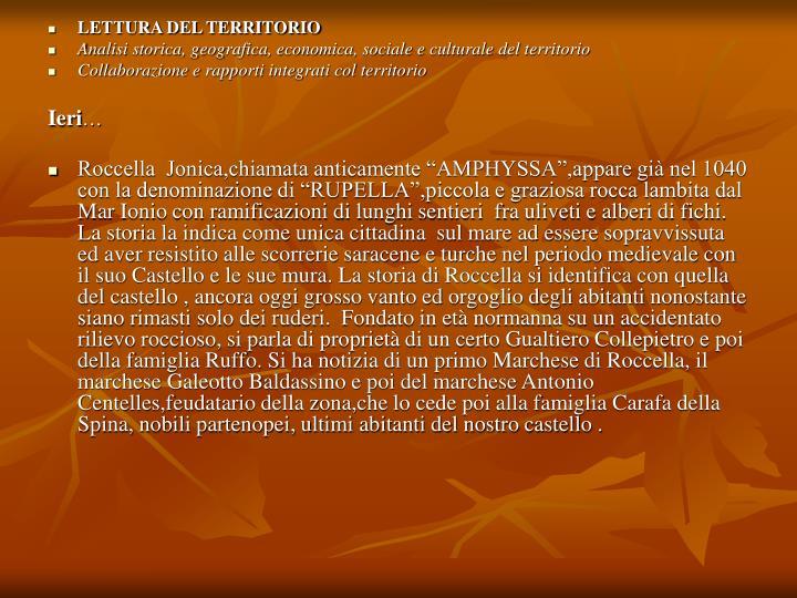 LETTURA DEL TERRITORIO