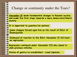 change or continuity under the tsars