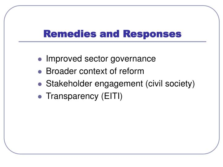 Remedies and Responses