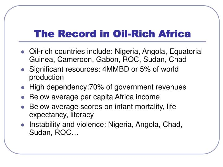 The Record in Oil-Rich Africa