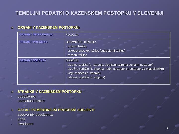 Temeljni podatki o kazenskem postopku v sloveniji