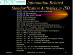 information related standardization activities in iso