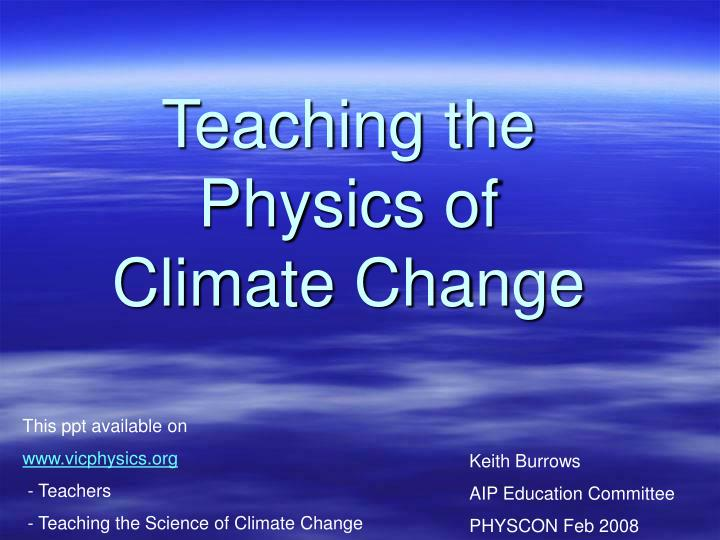 teaching the physics of climate change n.