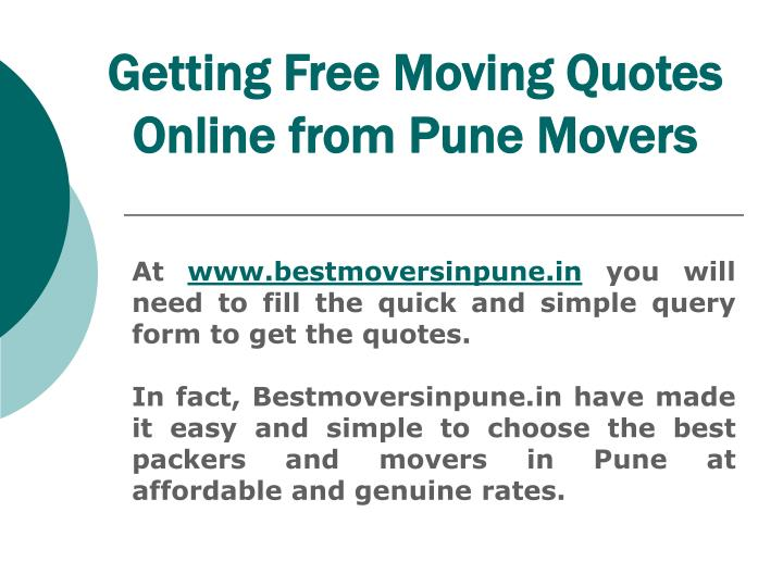 Getting Free Moving Quotes Online from Pune Movers