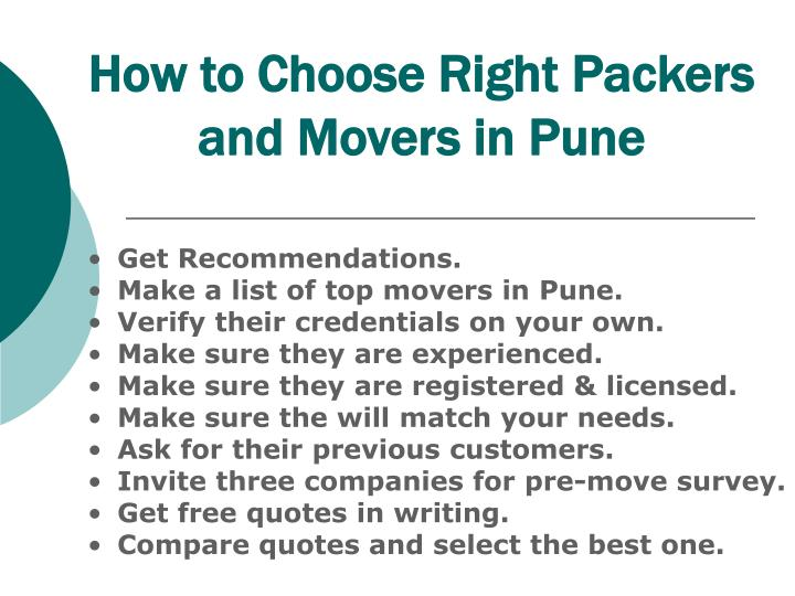How to Choose Right Packers and Movers in Pune