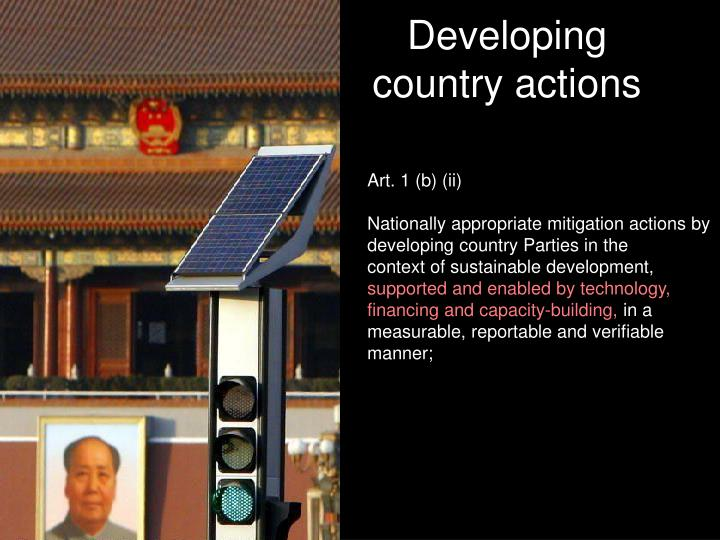 Developing country actions