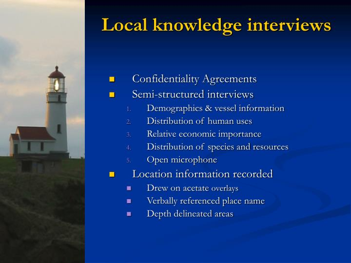 Local knowledge interviews
