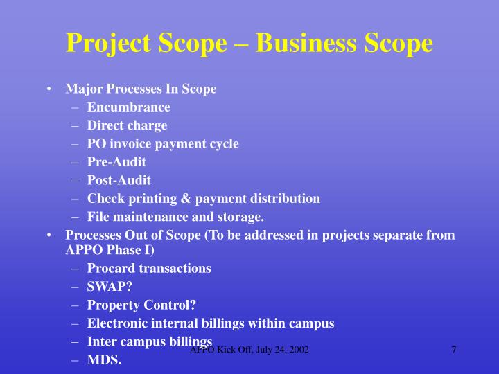Project Scope – Business Scope