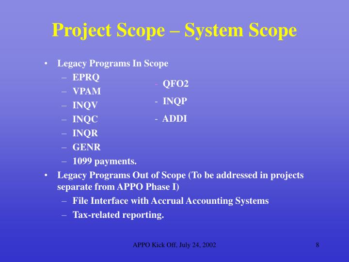 Project Scope – System Scope