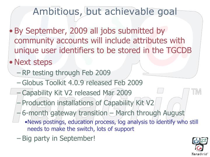 Ambitious, but achievable goal