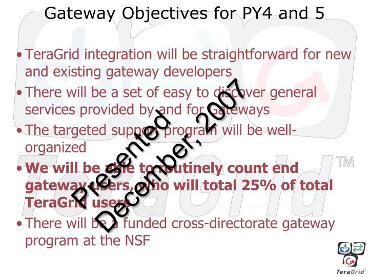 Gateway objectives for py4 and 5