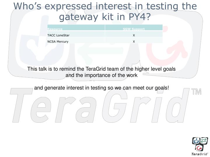 Who's expressed interest in testing the gateway kit in PY4?