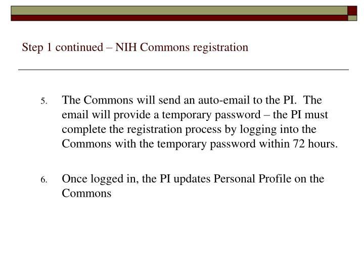 Step 1 continued – NIH Commons registration