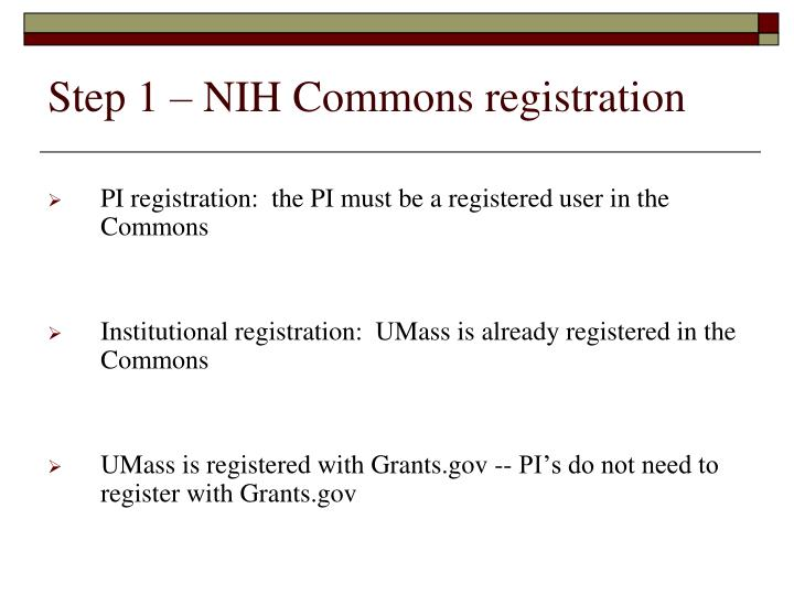 Step 1 nih commons registration
