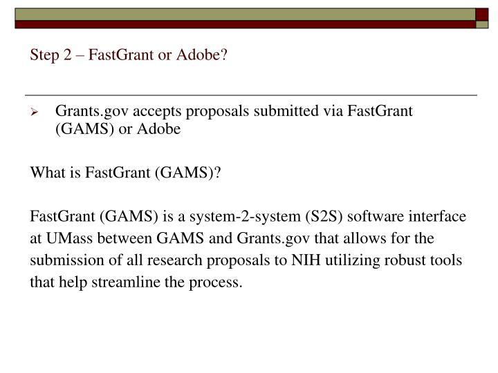 Step 2 – FastGrant or Adobe?