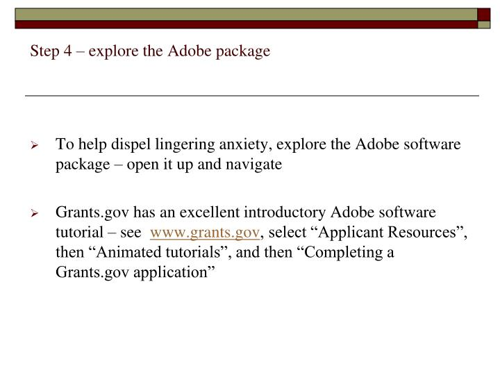 Step 4 – explore the Adobe package