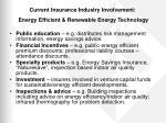 current insurance industry involvement energy efficient renewable energy technology