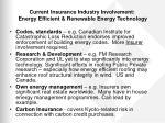 current insurance industry involvement energy efficient renewable energy technology1