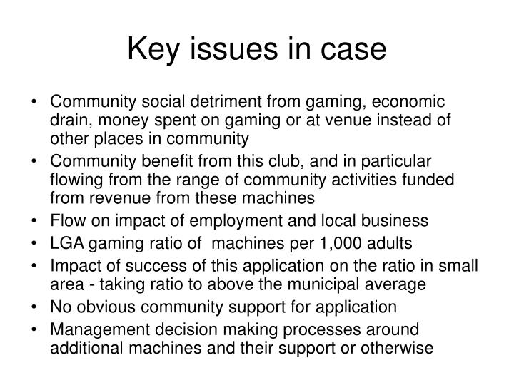 Key issues in case