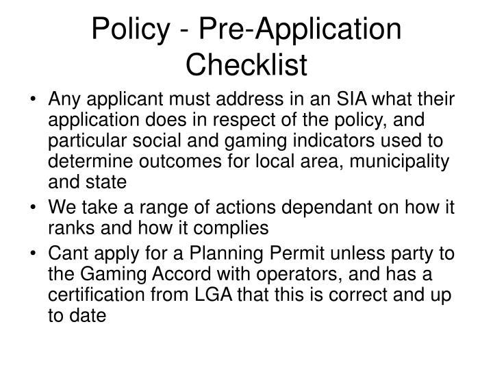 Policy - Pre-Application Checklist