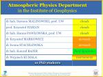atmospheric physics department in the institute of geophysics