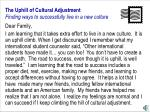 the uphill of cultural adjustment finding ways to successfully live in a new culture