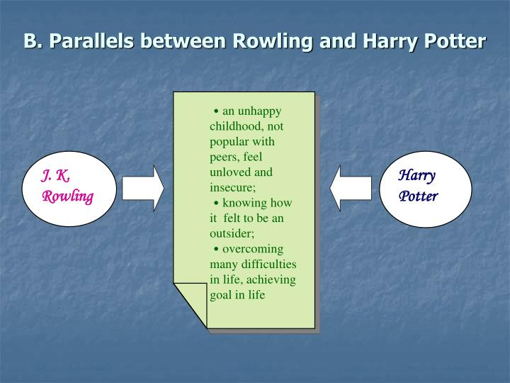 B. Parallels between Rowling and Harry Potter