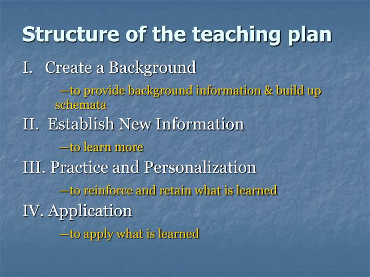 Structure of the teaching plan