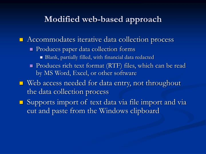 Modified web-based approach