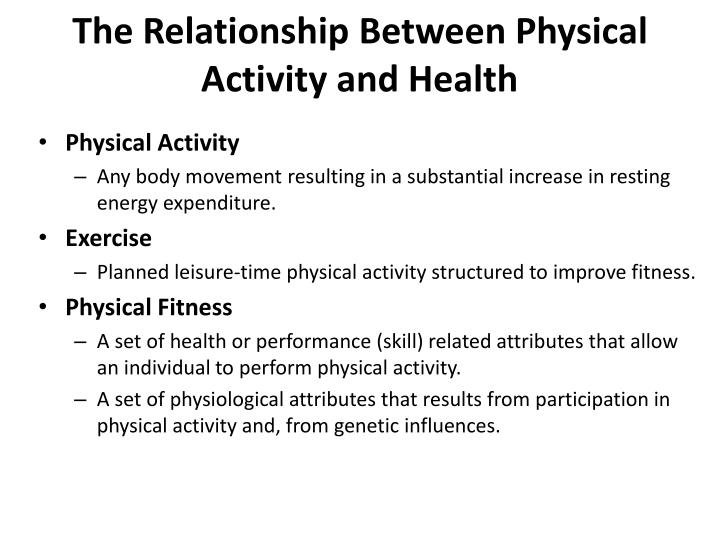the relationship between physical activity and health n.