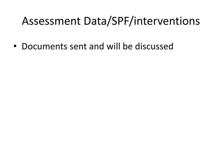 Assessment data spf interventions
