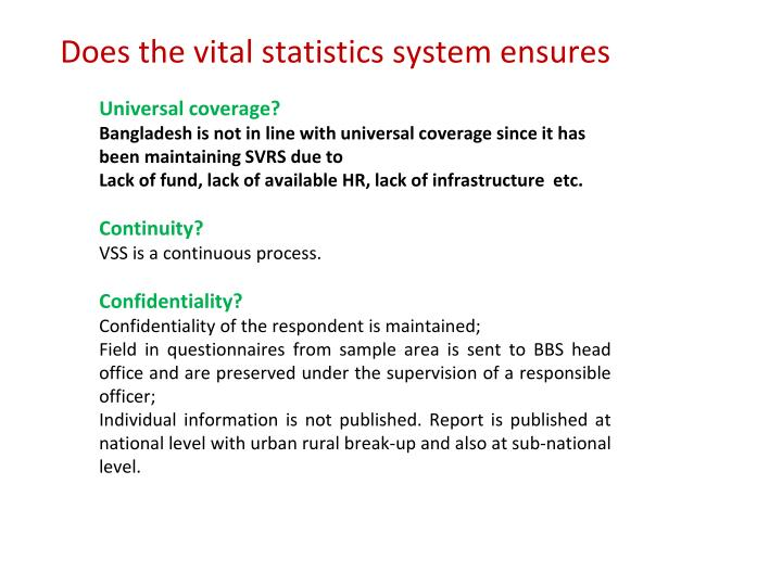 Does the vital statistics system ensures