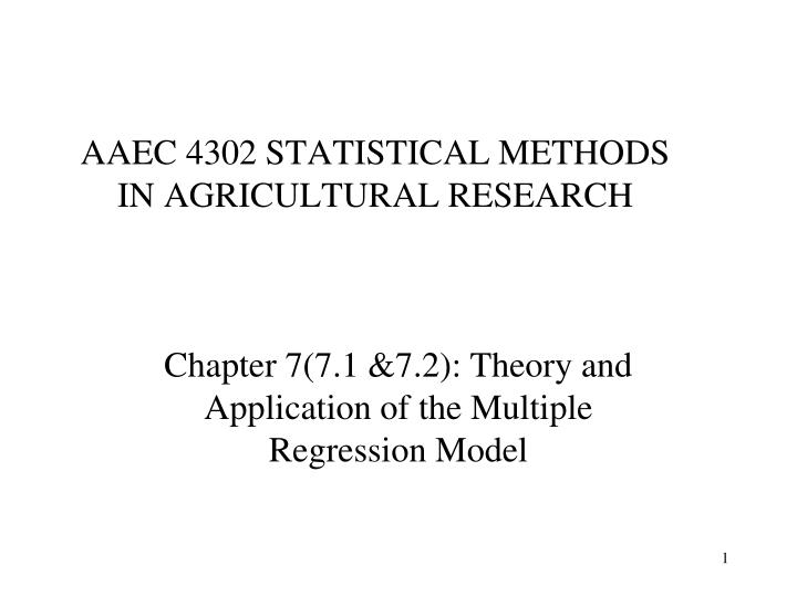 Aaec 4302 statistical methods in agricultural research