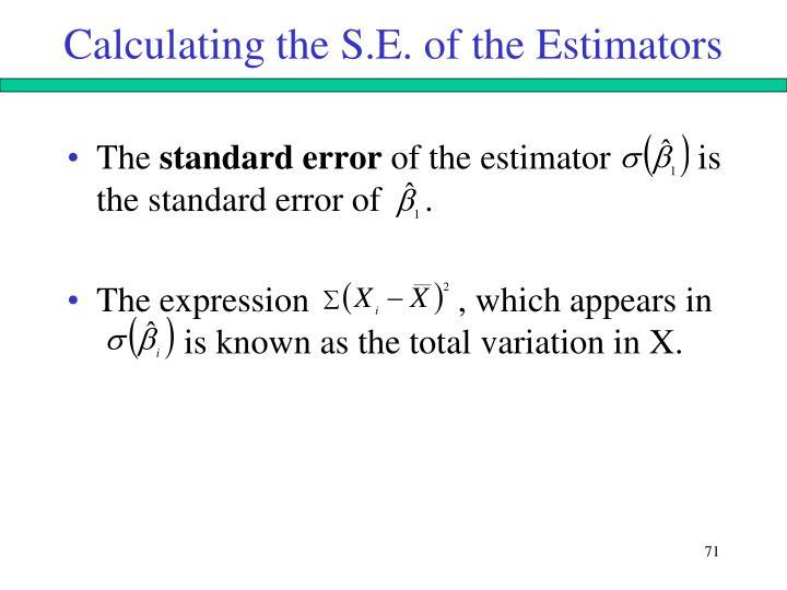 Calculating the S.E. of the Estimators