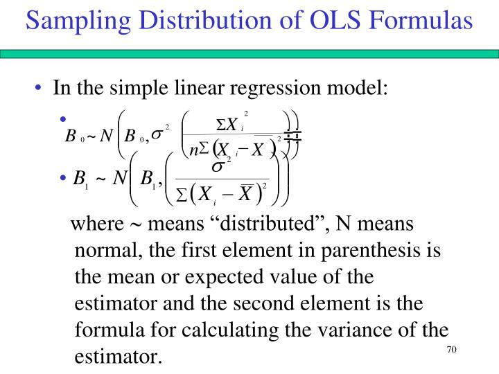 Sampling Distribution of OLS Formulas