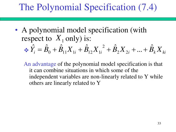 The Polynomial Specification (7.4)