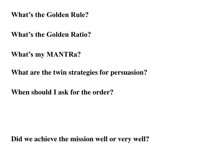 What's the Golden Rule?