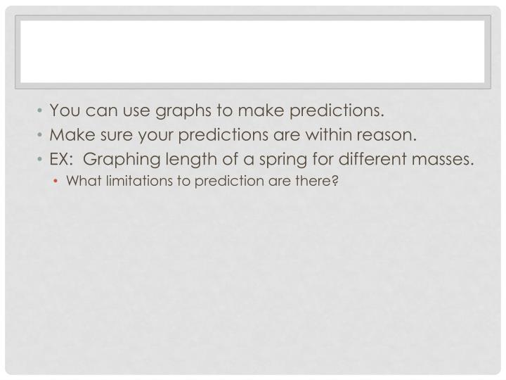 You can use graphs to make predictions.
