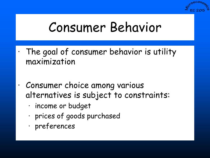 the goal of the consumer