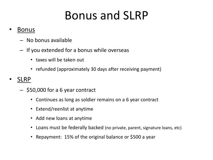 Bonus and SLRP
