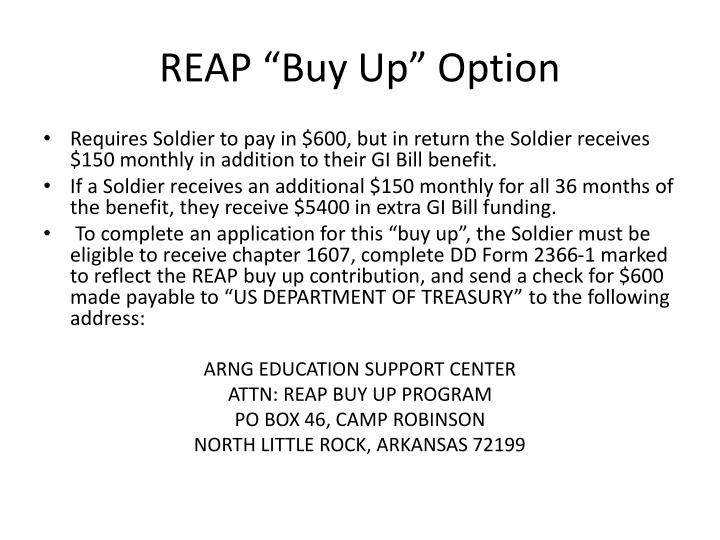 """REAP """"Buy Up"""" Option"""