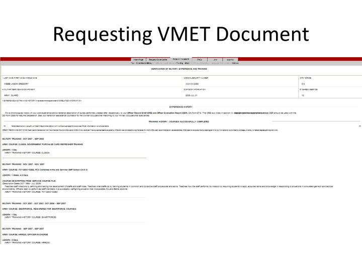 Requesting VMET Document